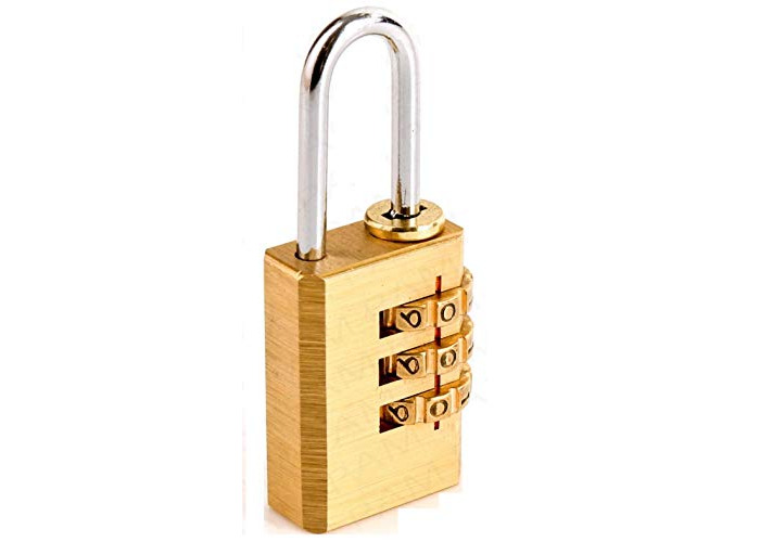 olid Brass 2 PCS Combination Lock 3 Copper Digit Padlock for Indoor and Outdoor Rustless Die-Cast to be Used for Bag and Protect Your valueable-Easy to Set & Reset,Good Security (2) - 1
