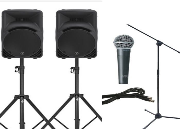 PA Package (x2 speakers, stands & wired Mic) - 1