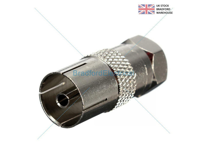 Pack 2- F Plug Male to Coaxial Coax  Socket  Female Adaptor - 1