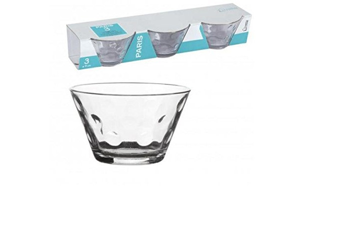 Pack of 3Fruit Dish Clear Glass Ice Cream Cup Glass Glass Bowl x 3–Dia. 11x 7cm - 1