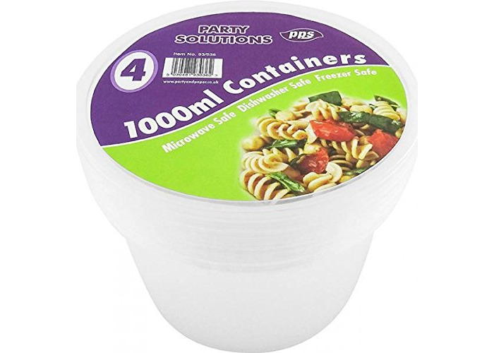 Pack of 4 Food Storage Container With Lid Round 1000ml Kitchen Essential - 1
