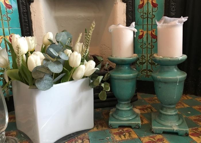 Pair of Blue Porcelain Candelabra - 1