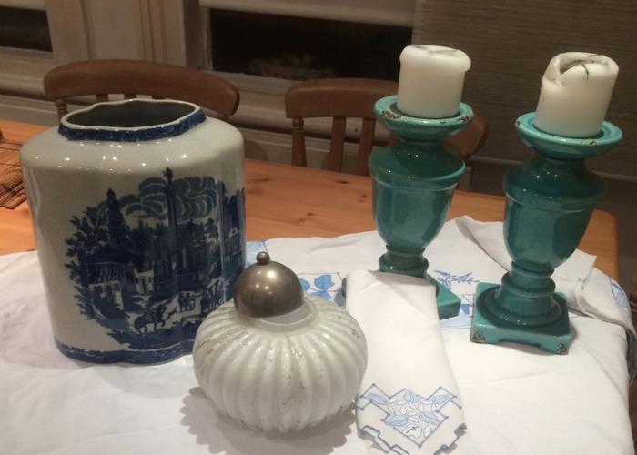 Pair of Blue Porcelain Candelabra - 2