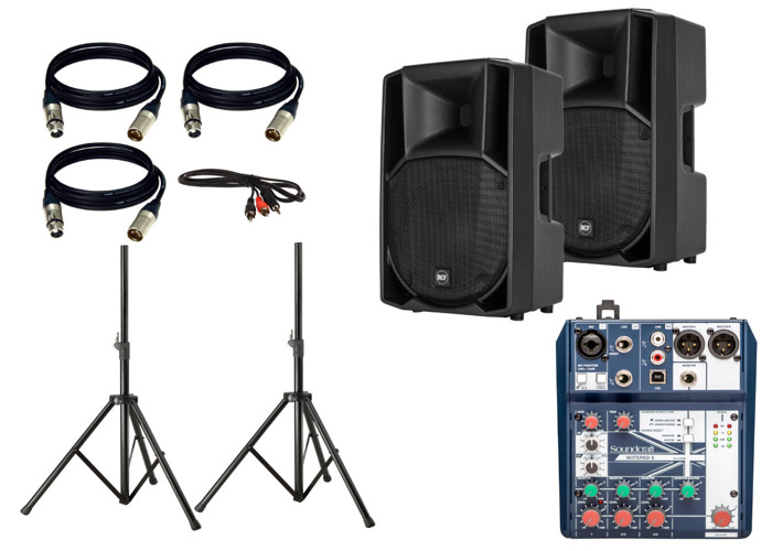 Pair RCF ART 712-A MK4 Speakers with mixer, stands and cable - 1