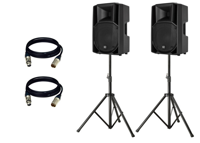 Pair RCF ART 712-A MK4 with stands and cables - 1