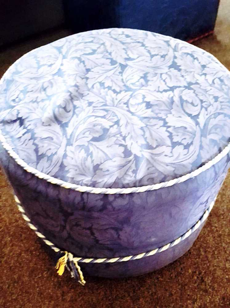 Paisley Blue Footstool/Pouffe - 1