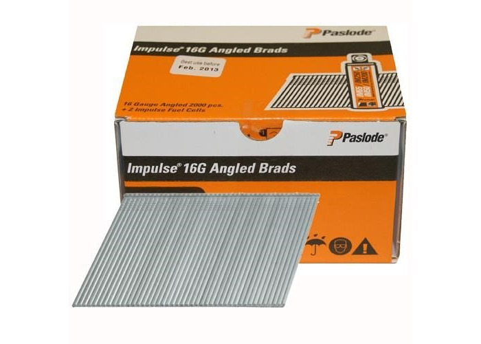 Paslode PAS300271 16 Gauge Angled Brads & Gas Angled ELGV 16g x 38mm 2BFC Box of 2000 - 1