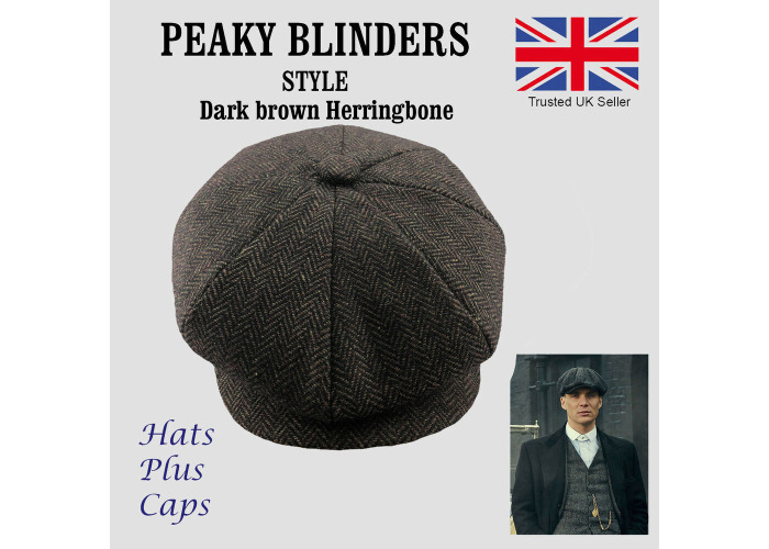 6b4bc8ece0 Buy Peaky Blinders Style Newsboy Flat Cap Herringbone Tweed Wool ...