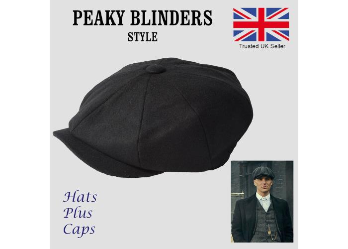 6712115a9 Buy Peaky Blinders Style Newsboy Flat Cap Herringbone Tweed Wool ...