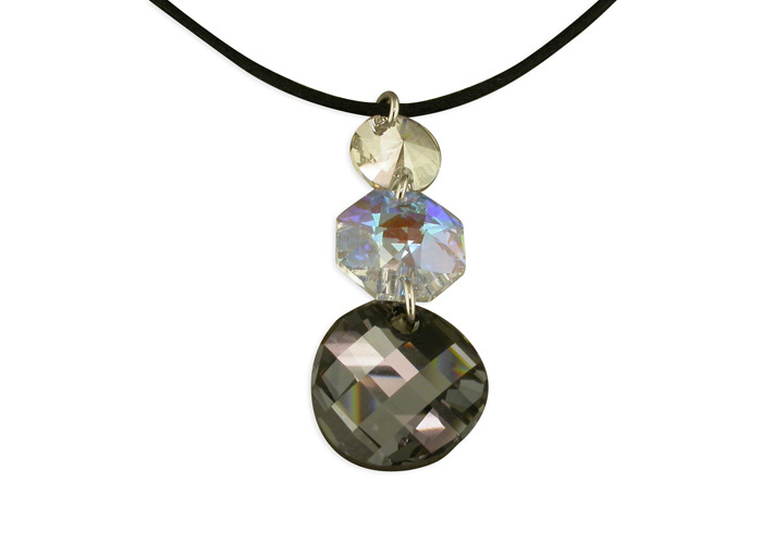 Persona Black & White Crystals Cord Necklace - 1