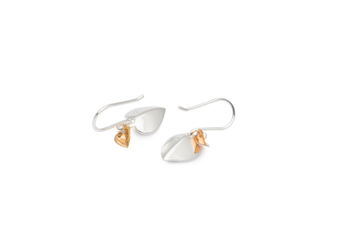 Persona Gold Plated & Scratch Finish Heart Earrings - 1