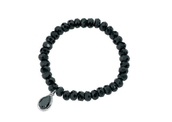Persona Onyx and Black Cubic Zirconia Bead Stretch Bracelet - 1