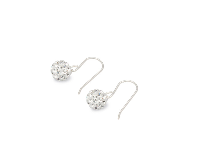 Persona Silver Clear Crystal Set Ball Drop Earrings - 1