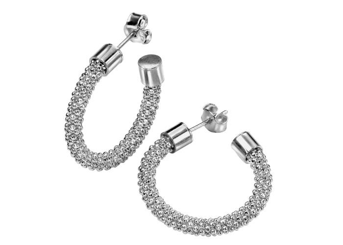 Persona Silver Diamond Cut Sparkle Bead Earrings - Rhodium Plated - 1