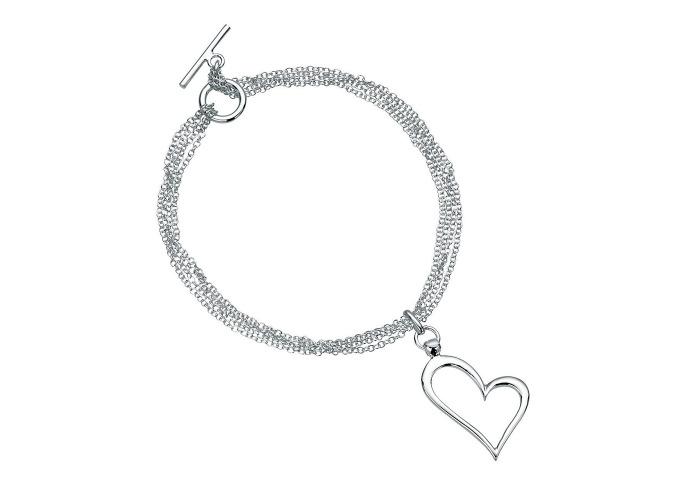 Persona Silver Open Heart Multi Chain Bracelet - 1