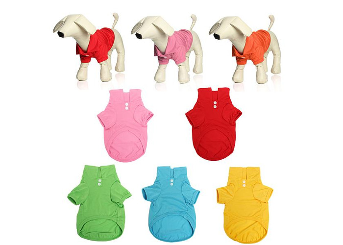 Pet Dog Collar Puppy Polo T-Shirt Clothes Outfit Apparel Coat Cotton - 2