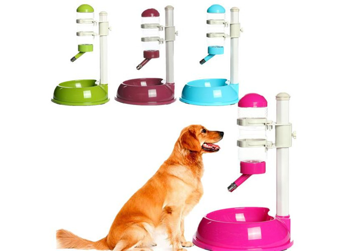 Pet Plastic Dog Cat Dish Bowl Bottle Water Drinker Food Feeder - 2