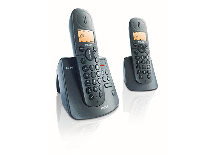 Philips Cordless phone answer machine CD2452B/05 - telephones (15 min, Polyphonic, Desk, Black, Tone/Pulse, Digital) - 1
