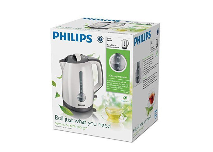 Philips HD4644/00 Energy Efficient Kettle, 1.7L - White & Grey - 1
