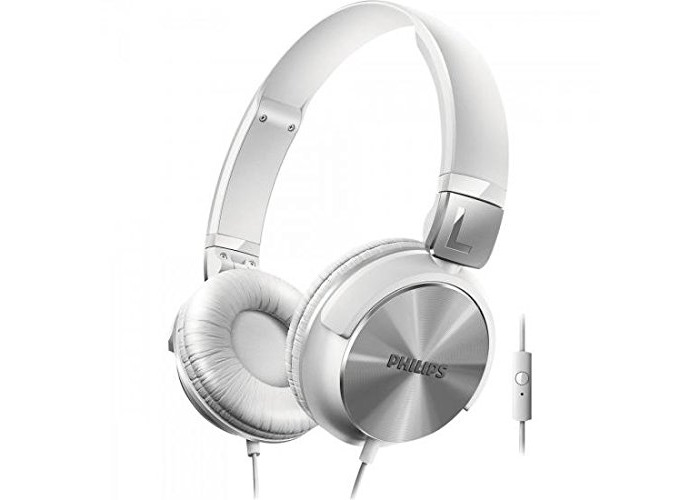 Philips SHL3165WT On-Ear Headphones with Mic, Adjustable, 1.2 m Cable - Silver/White - 1