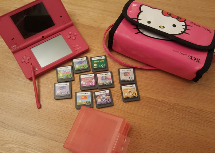 Pink Nintendo DSi with 10 Games - 1