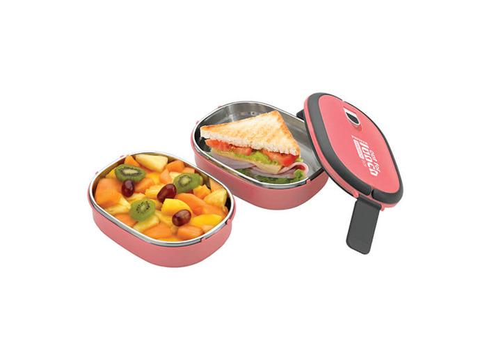 Pioneer Double Decker Rectangular Lunch Box Set Pink - 1