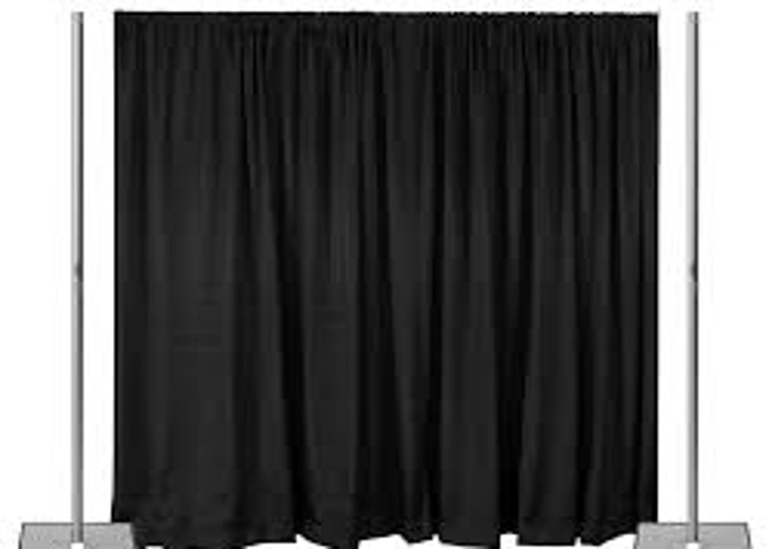 Pipe & Drape curtain set. 3x  6mx2m curtains and poles - 1