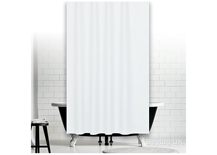 Plain white extra wide fabric shower curtain - weighted hem, rings [W240 x L180cm] - 1