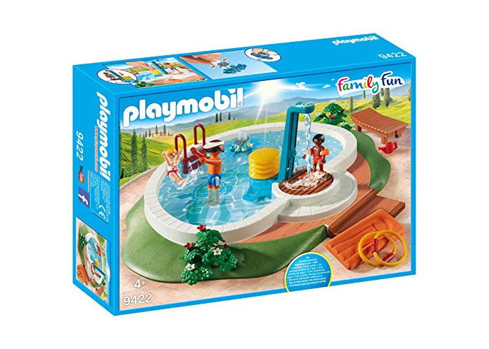 Playmobil 9422 Family Fun Swimming Pool with Functioning Shower and Floating Raft - 1