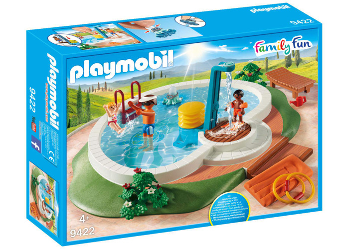 Playmobil 9422 Family Fun Swimming Pool with Functioning Shower and Floating Raft - 2