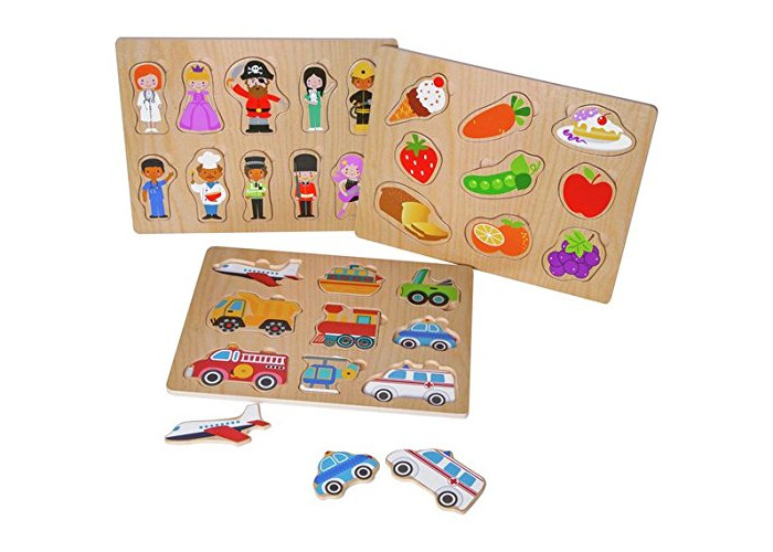 PlaySmart Wooden Puzzles - 3 Pack Chad Valley - 1