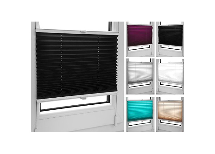 Pleated Blinds 18 Width Sizes, 6 Colours Easy Fit Install Plisse Conservatory Blinds, Black, 80cm Wide 100cm Drop - 1
