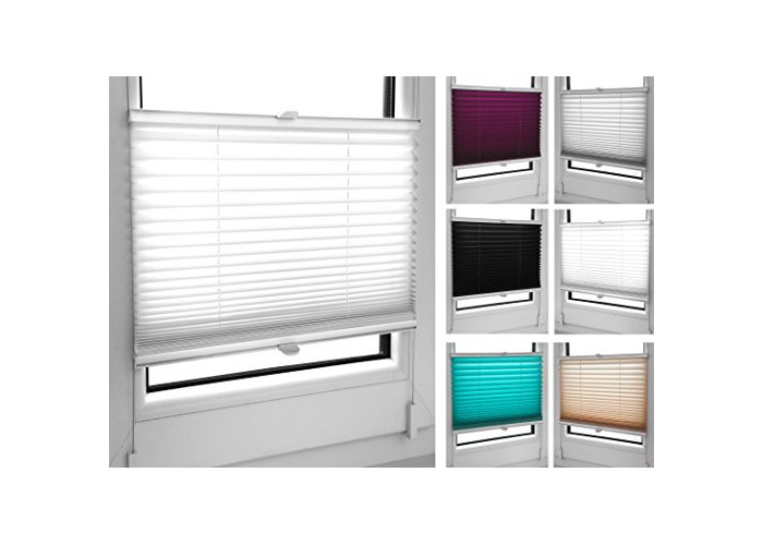 Pleated Blinds 18 Width Sizes, 6 Colours Easy Fit Install Plisse Conservatory Blinds, White, 50cm Wide by 100cm Drop - 1