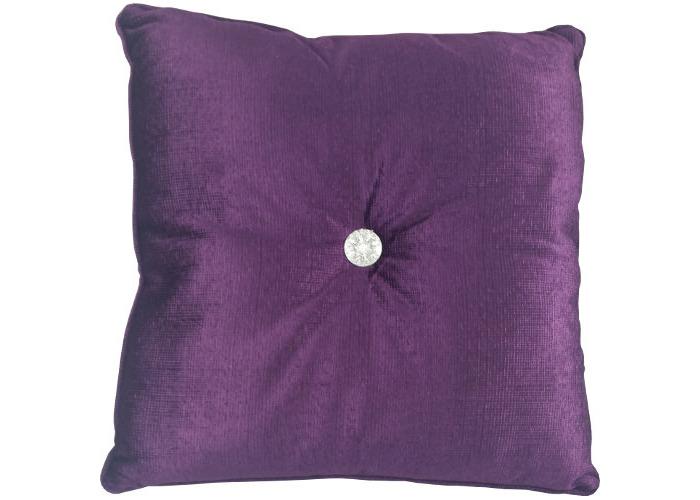 Plush Square Filled Cushion with Diamante Button Plum - 1