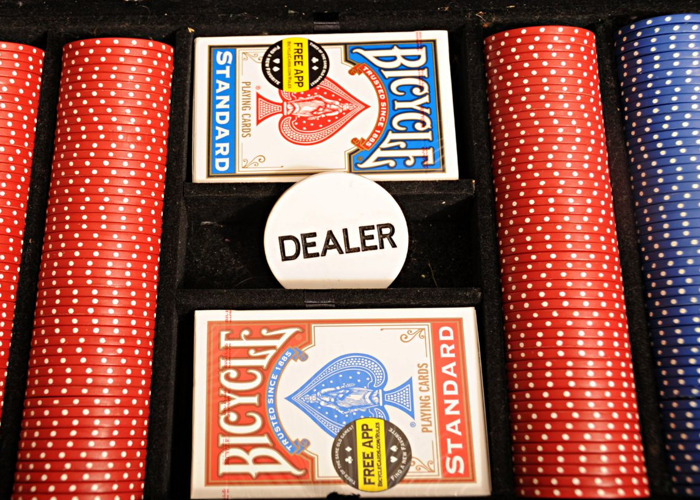 Poker Chip Set with 2 Sealed Packs of Quality Bicycle Cards and Dealer Button - 2