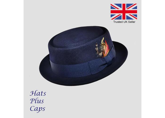 a183479e Pork Pie Hat 100% Wool Handmade Crushable Navy Breaking Bad Heisenberg Hat  - 1