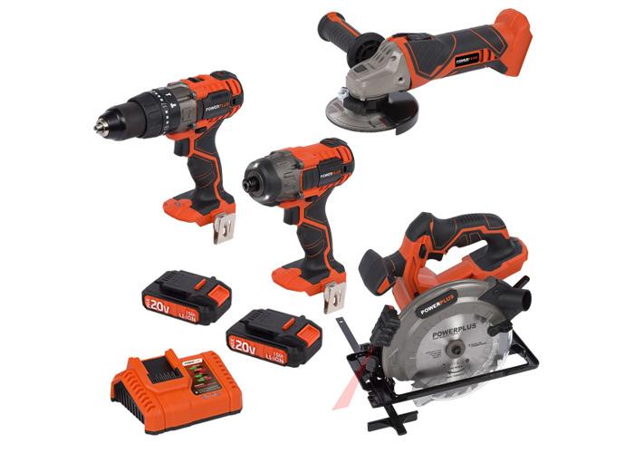 Powerplus 20v Combi Drill & Impact Driver & Angle Grinder & Circular Saw w/ 2 x Batteries - 1