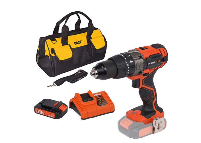 Powerplus 20v Combi Drill W/ Battery, Charger & Bag - 1