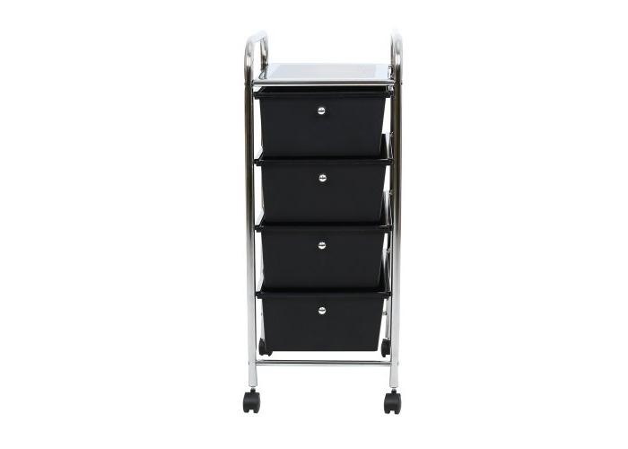 Premier Housewares 4 Drawer Storage Trolley with Chrome Frame, 79 x 39 x 33 cm - Black - 2