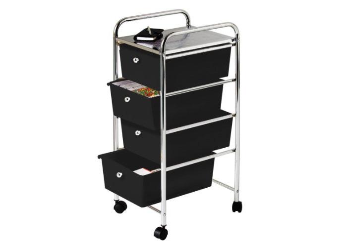 Premier Housewares 4 Drawer Storage Trolley with Chrome Frame, 79 x 39 x 33 cm - Black - 1
