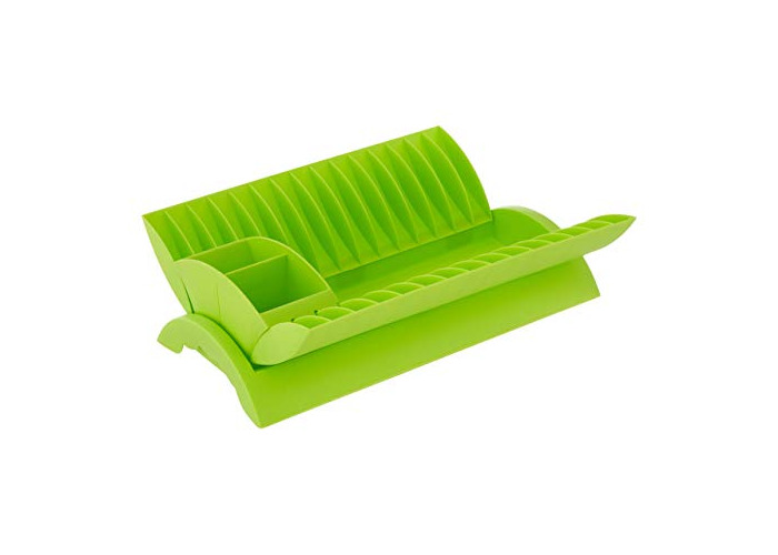 Premier Housewares Dish Drainer with Removable Cutlery Caddy - Lime Green - 1