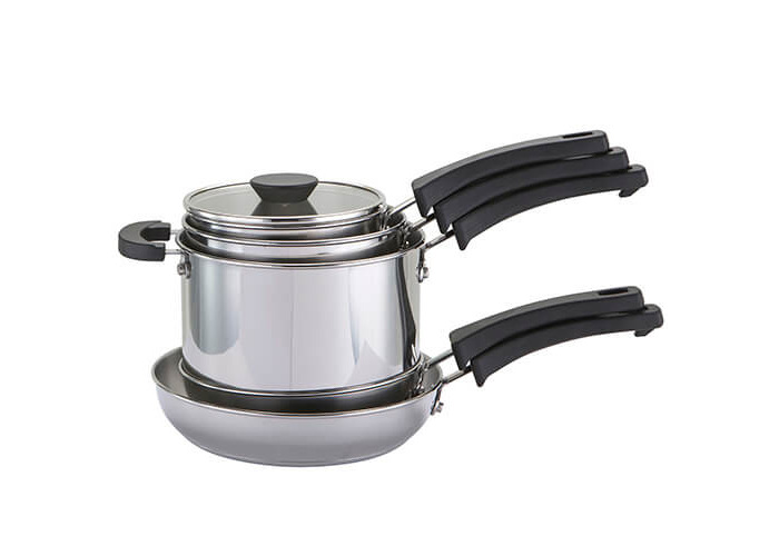 Prestige Kitchen Hacks Sauce and Fry Pan Set, Stainless Steel, 5-Piece - 1