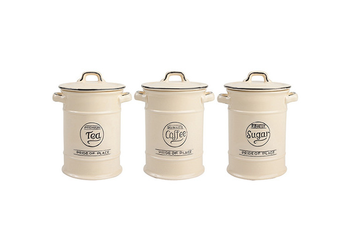 Pride of Place Tea Coffee and Sugar Storage Jars Cream - 1