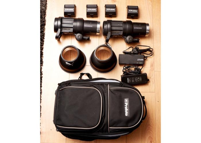 Profoto B1 Kit + 4 Batteries, 2 Chargers, 2 Zoom Reflectors - 1