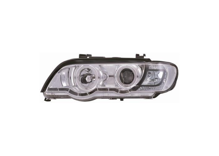 Projector Headlights LHD Chrome With Angel Eyes Pair For BMW X5 E53/00-03 - 1