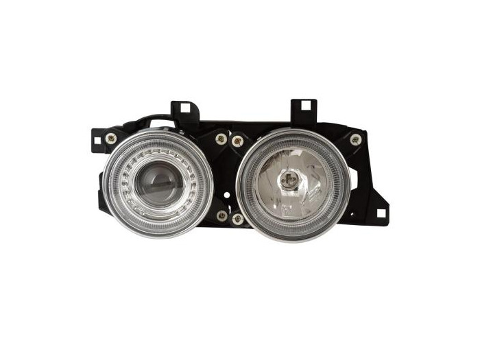 Projector Headlights Lighting Lamp LHD Angel Eyes Chrome Pair For BMW E34/E32 - 1