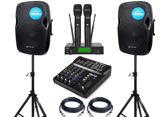 PS system, 2 speakers, mixer, 2 wireless mics,  - 1