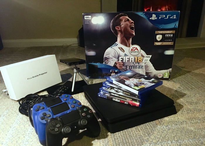 PS4 and Projector Gaming Night Bundle/Pack - includes 5 Games (Inc FIFA 19) - 2