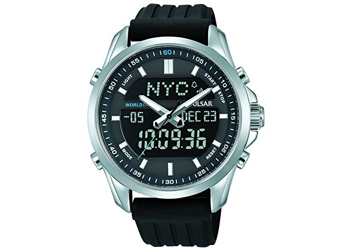 Pulsar Digital Chronograph Dual Display Black Resin Strap Gents Watch PZ4023X1 - 1