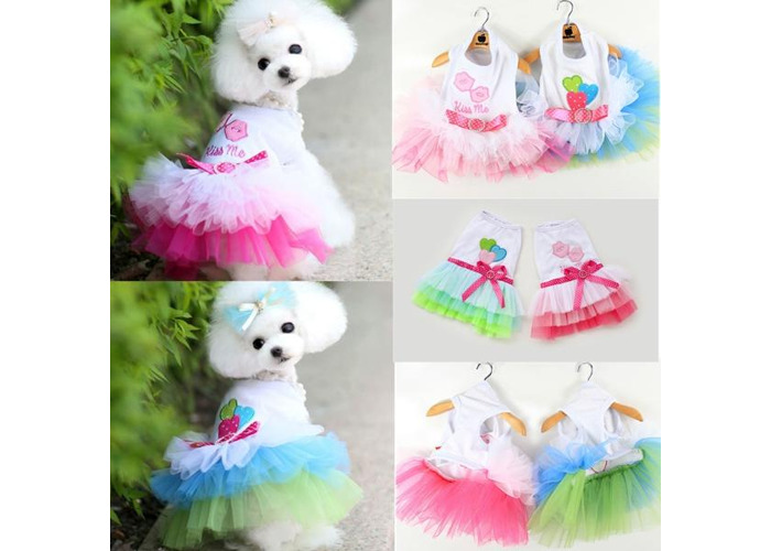 Puppy Dog Cat Pet Summer Dress Lace Apparel Skirt Dress Sleeveless Braces - 1
